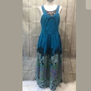 Moulinette Soeurs Dress 10 blue floral silk maxi